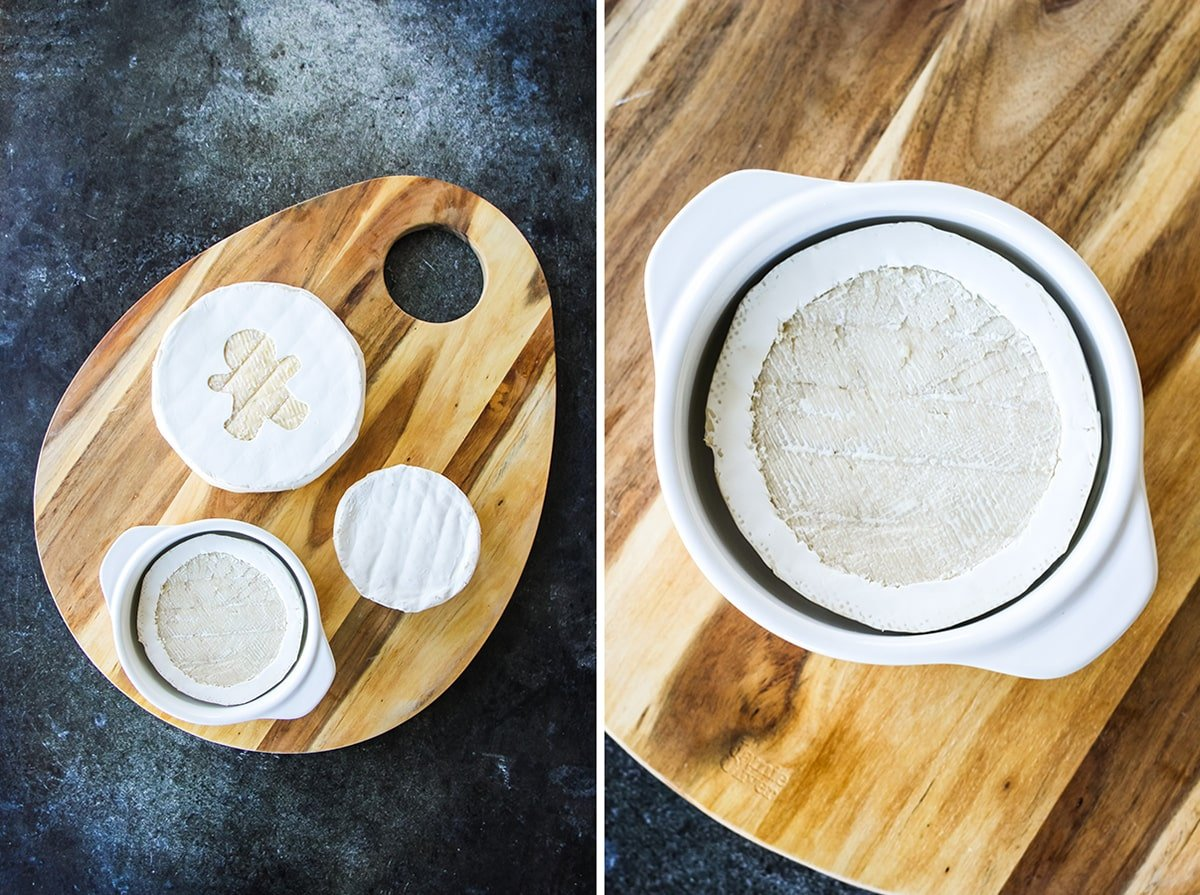 two pictures of a cheese board with 3 Brie cheese wheels