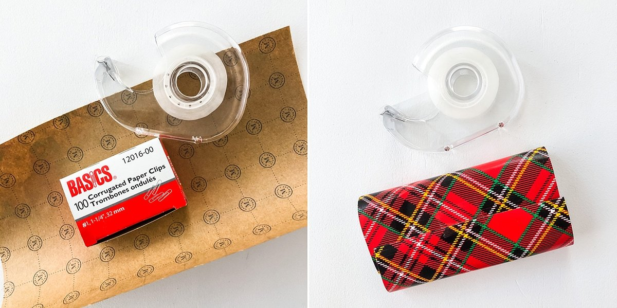 Two images: one image with a roll of tape, an empty paper clip box and a piece of wrapping paper, the other image with a roll of tape and a box wrapped in the wrapping paper