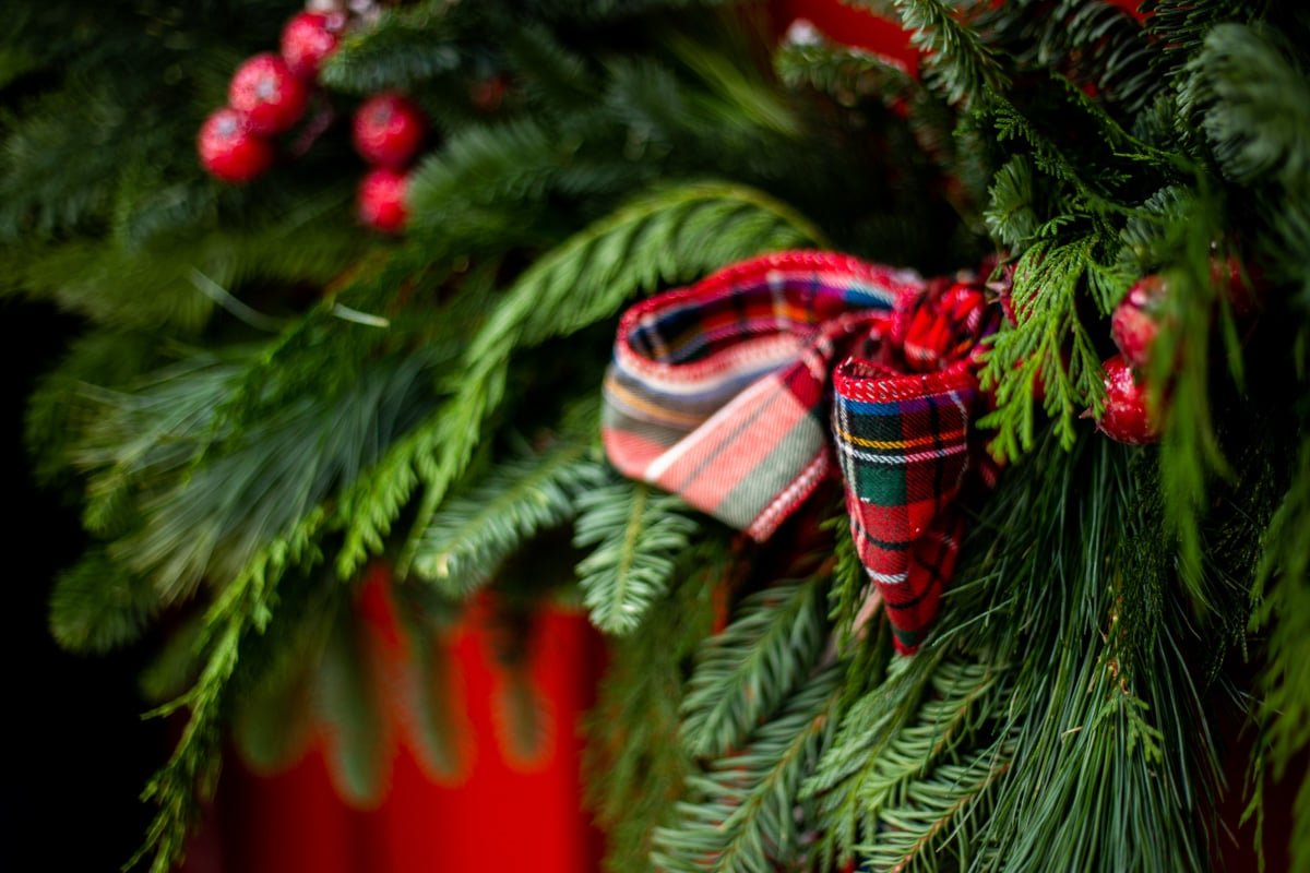 a close up of a plaid ribbon on an evergreen wreath