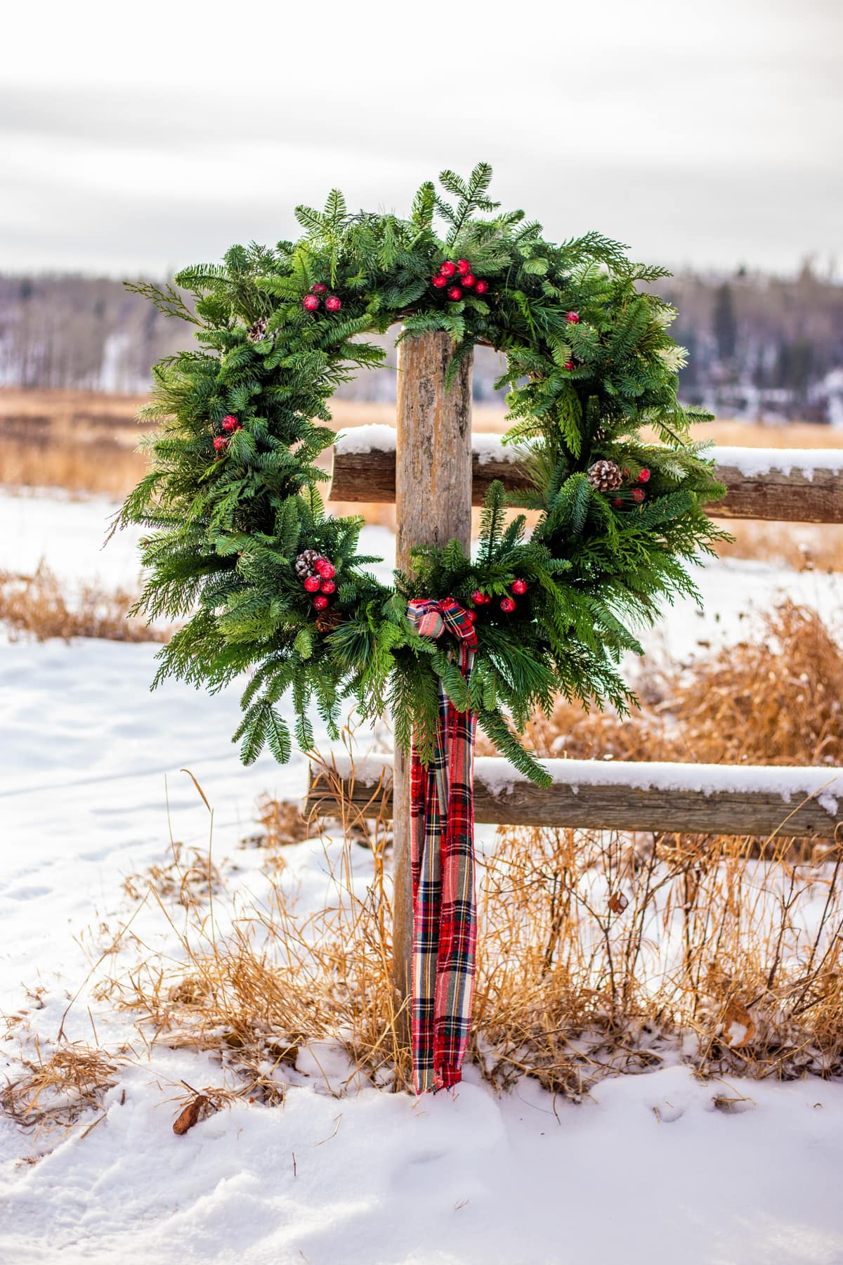an evergreen wreath hanging on a fence post