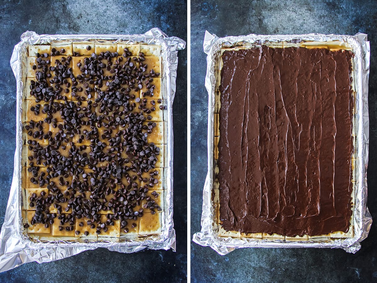 two images. one is a tin foil lined tray with a layer of saltine crackers, covered in caramel and sprinkled with chocolate chips. the other image is the tray of crackers covered in caramel sauce, covered in a smooth layer of melted chocolate