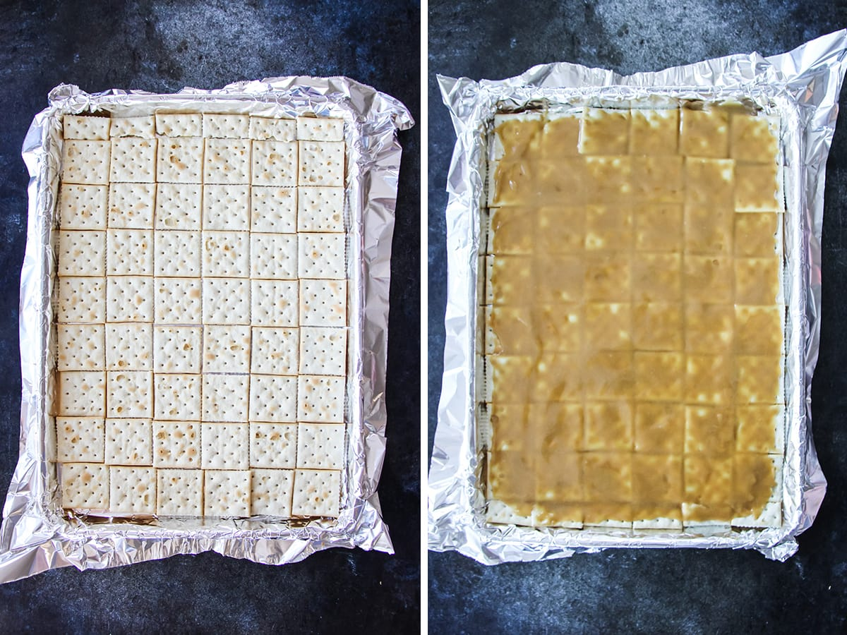 two images. one is a tin foil lined tray with a layer of saltine crackers. the other image is the tray of crackers covered in caramel sauce
