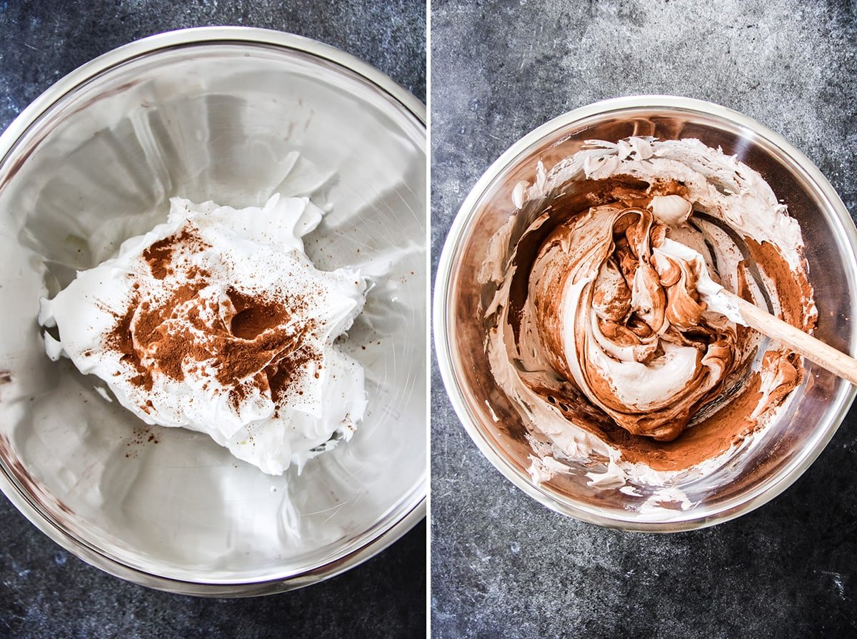 two side by side pictures of meringue with cocoa powder sprinkled on top and stirred in