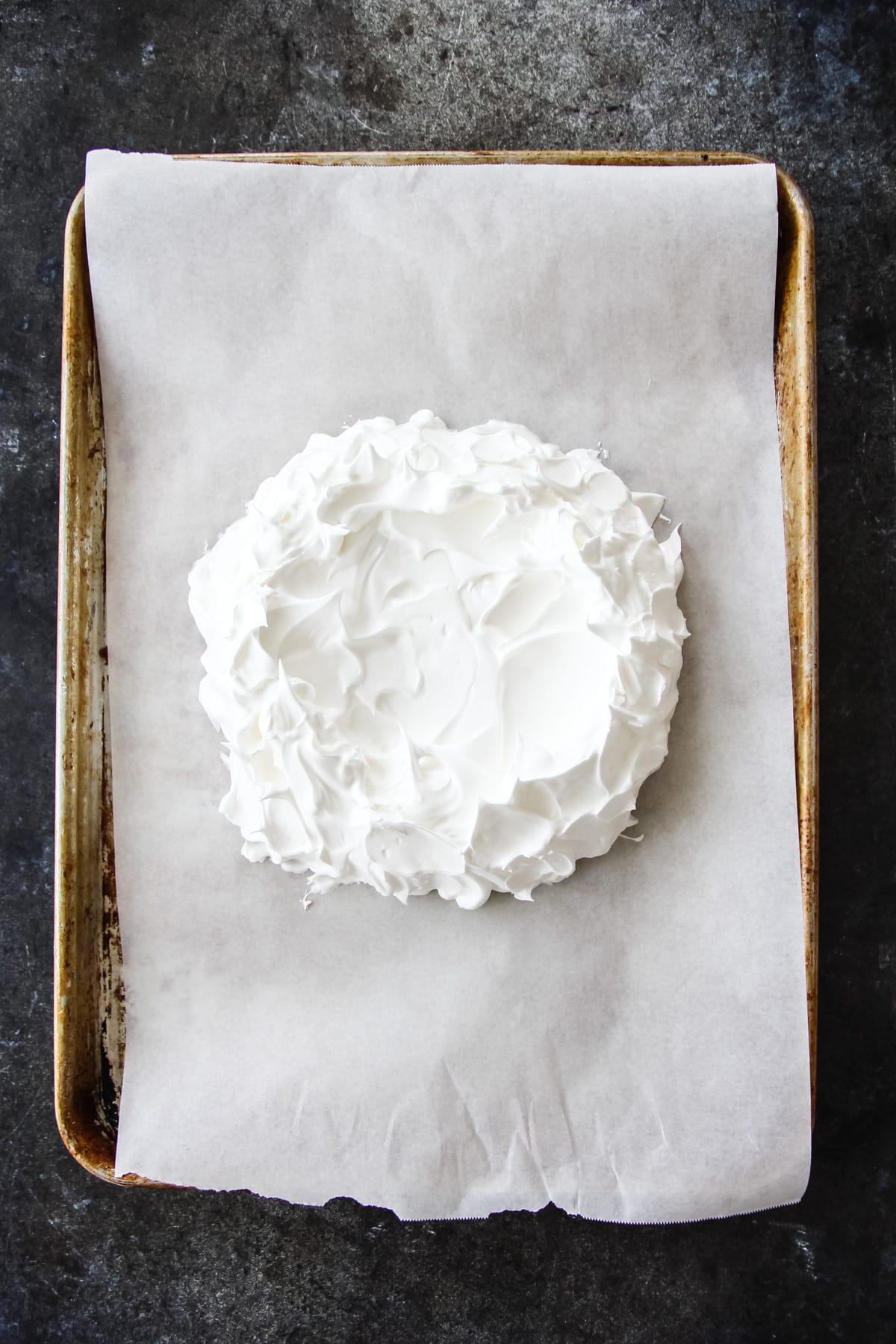 a top down view of a Pavlova meringue