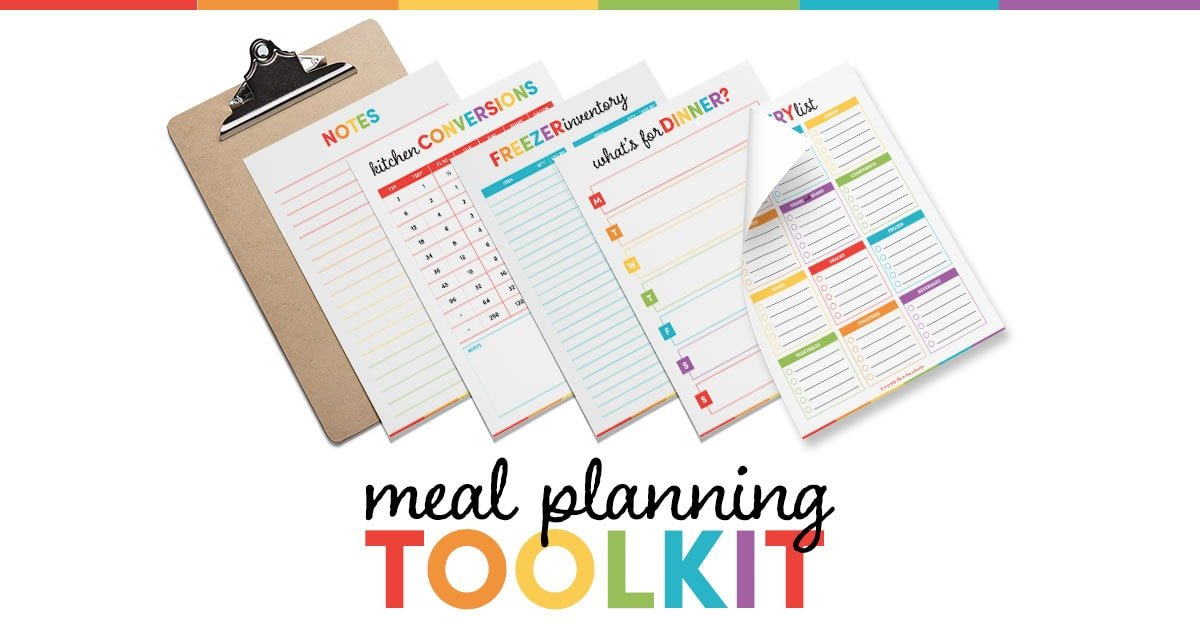 five Meal Planning Printables next to a clipboard