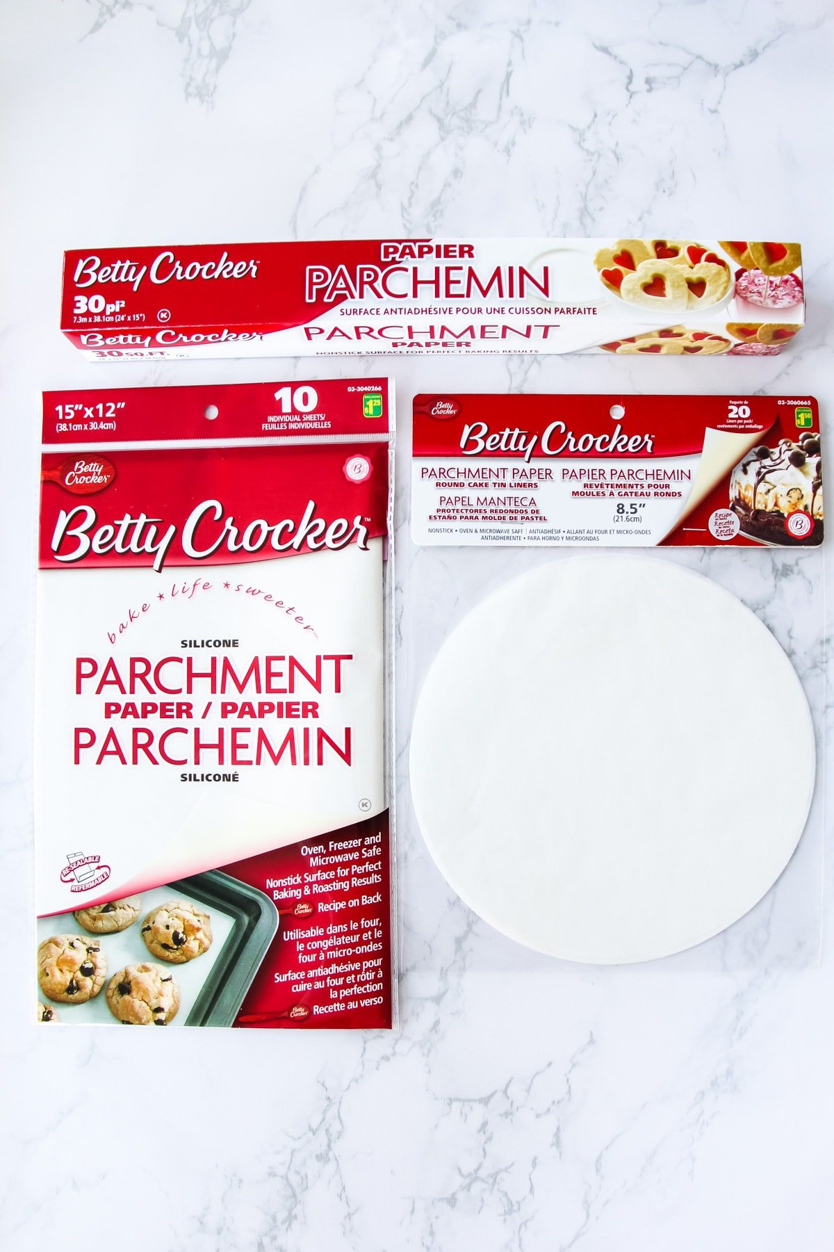 a top down view of packages of dollar store parchment paper