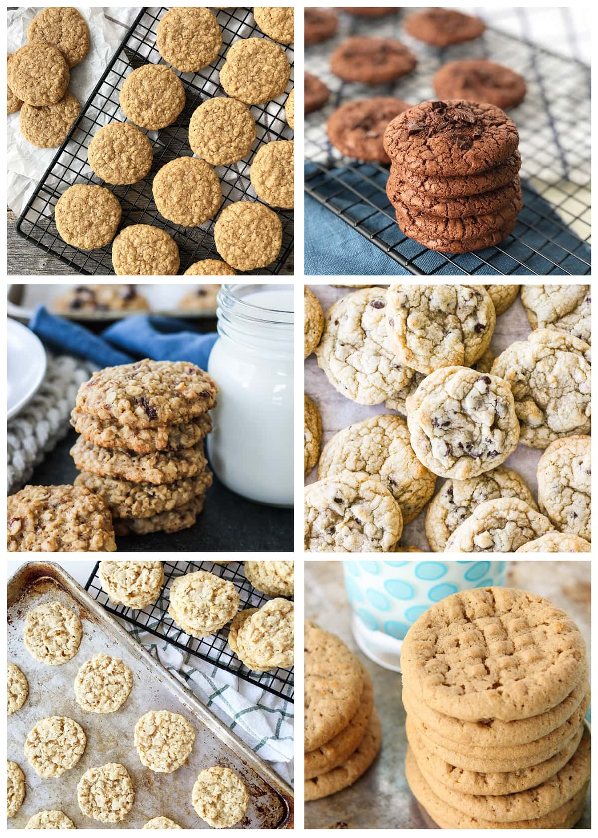 a grid of six pictures of cookies