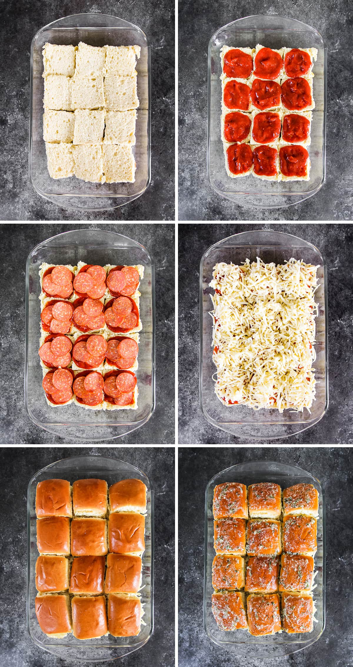 a six picture grid showing how to make the sliders