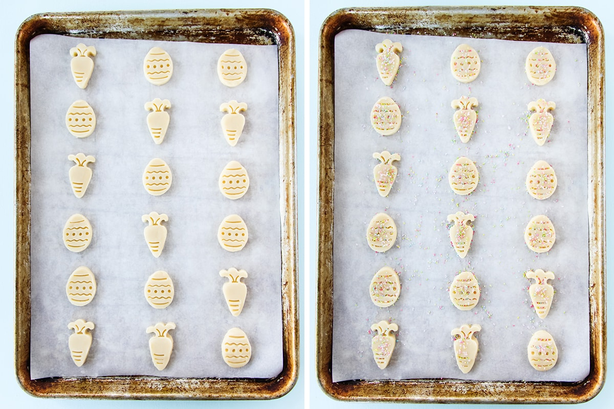 an image of two cookie sheets lined in parchment paper. on one sheet are raw cookie dough cut outs in the shapes of carrots and Easter eggs. On the other sheet is the same except they are covered lightly in sprinkles
