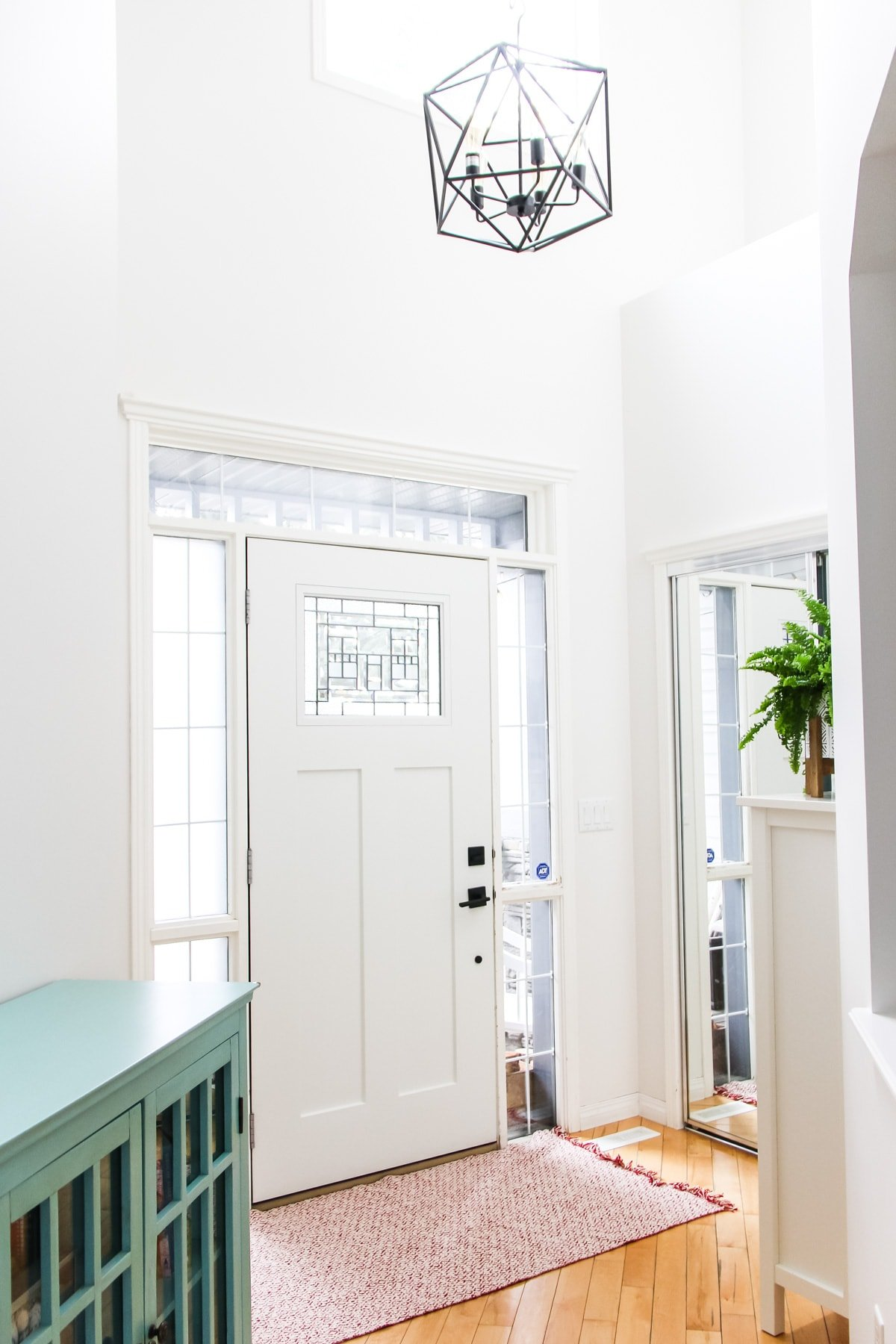 an image of an entryway on the inside of a home. there is a white craftsman door, a black cage light hanging from the ceiling, a pink rug and a green fern