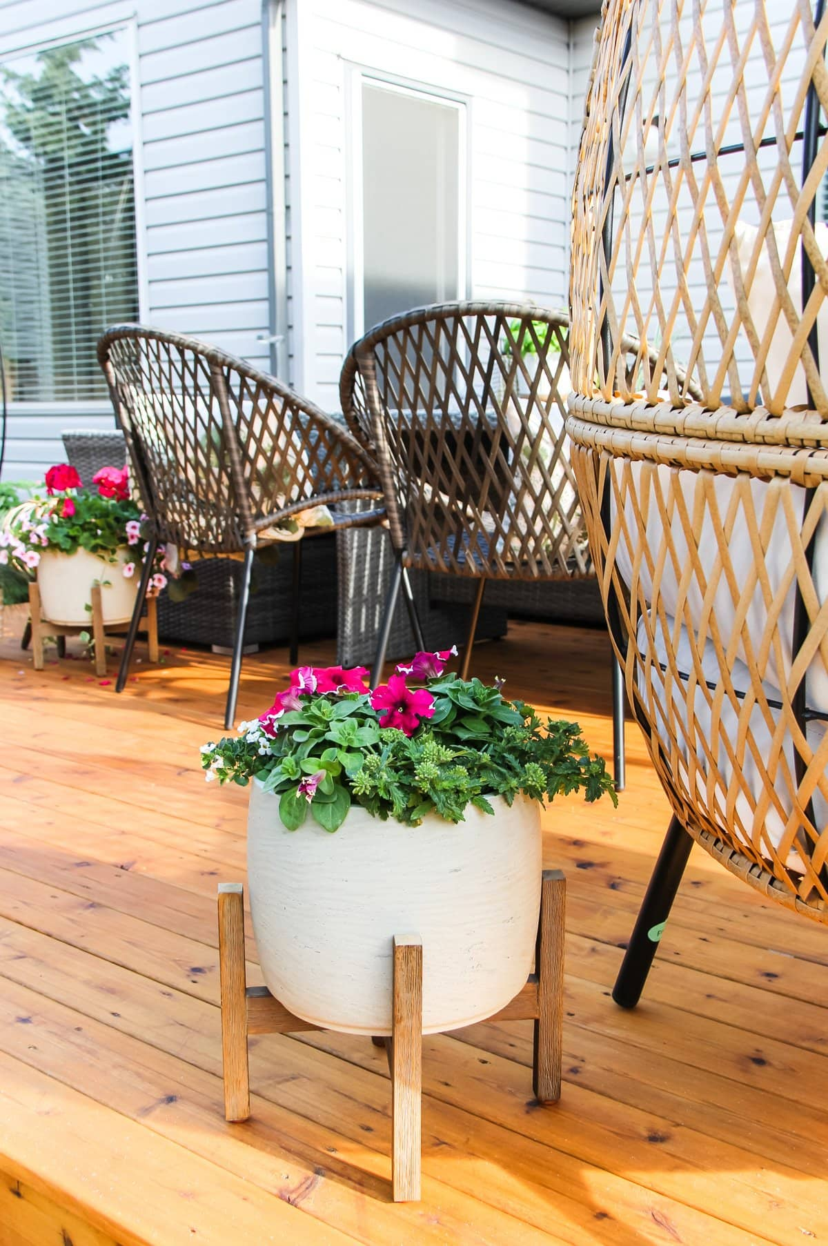 a raised planter of peonies sitting on a deck. in the background are wicker chairs and another planter