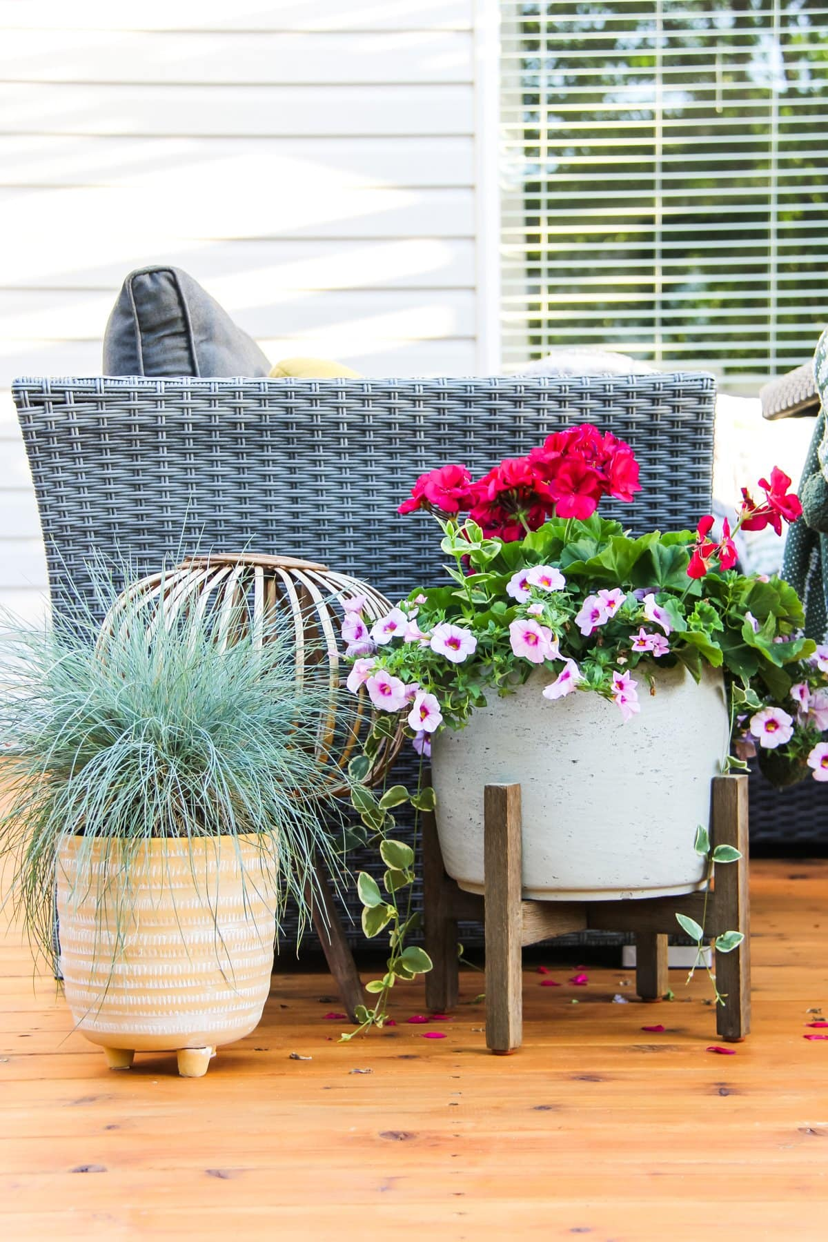 a planter of bluegrass, a planter of pink flowers and a wicker candle holder