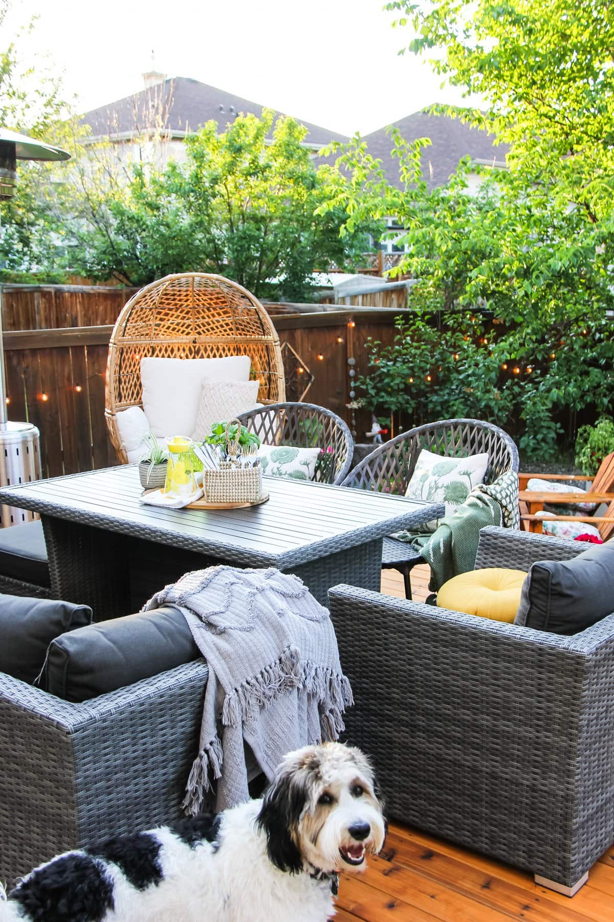 a basket of cutlery, a yellow glass jug and a basil plant sit on a table. in the background are wicker chairs and a tree with patio lights