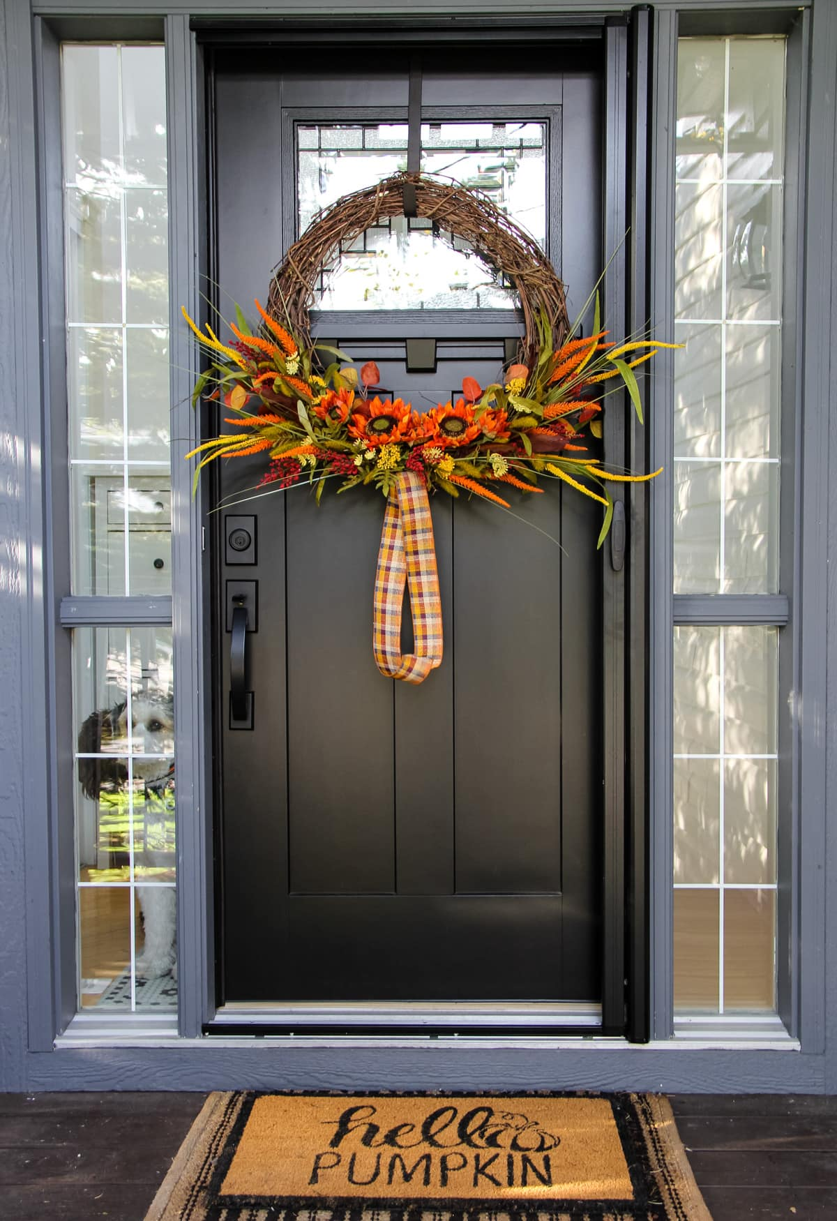 a large grapevine wreath decorated with dried fall florals stems and a plaid ribbon hangs on a black door