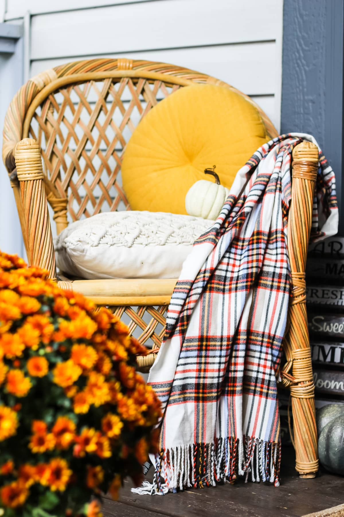 a wicker chair with yellow and beige pillows, and a plaid blanket