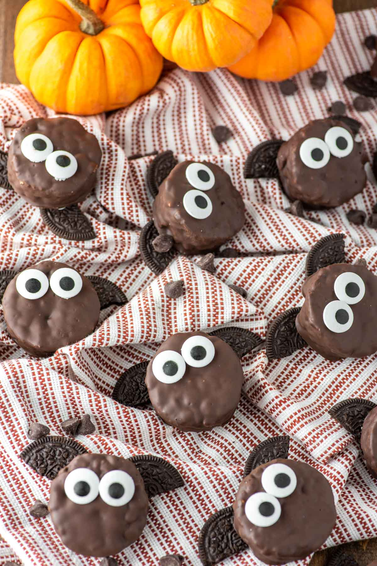 a top down view of chocolate covered circle rice krispies made to look like bats with large eyeballs